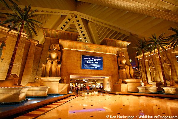 One of the most distinctive hotels in Las Vegas is the Luxor Hotel. Done up in an ancient Egyptian theme, the hotel is shaped like a pyramid. HUGE lobby to traverse to finally arrive at the elevators (that if you stay in the pyramid) travel sideways, so you're never sure where on your floor you'll arrive... creating another long walk to your room. But it's pretty.