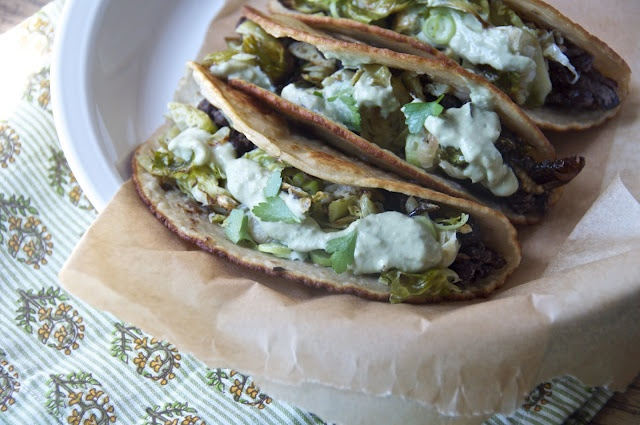 crispy brussels sprout + black bean tacos with avocado crema: Crispy Brussels, Black Beans, Food, Recipes, Black Bean Tacos, Sprouts, Avocado Crema, Morning, Brussels Sprout