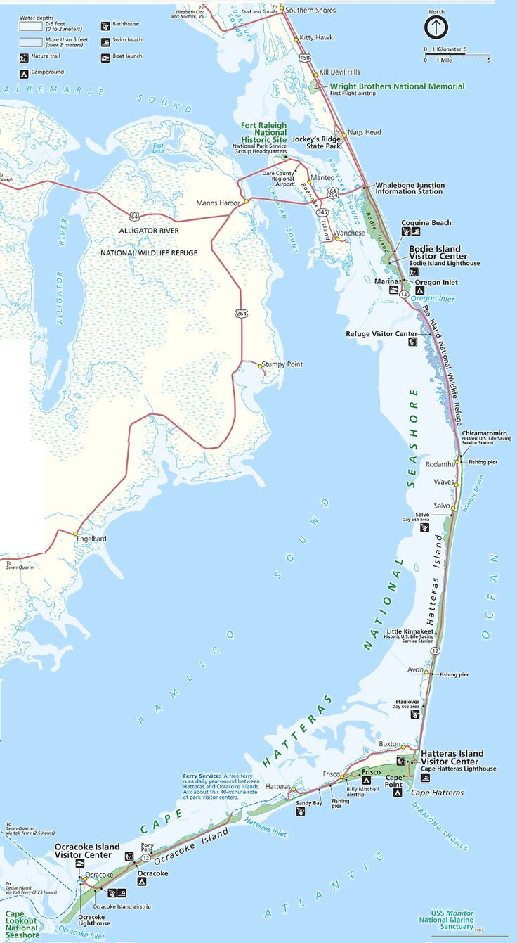 Map Of The Outer Banks Including Hatteras And Ocracoke Islands Cape Hatteras North Carolina