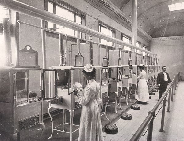 Ultra-modern Neonatal units (baby incubators) were very popular attractions at the World's Fairs near the turn of the last century. This one was at the 1904 St Louis Fair.