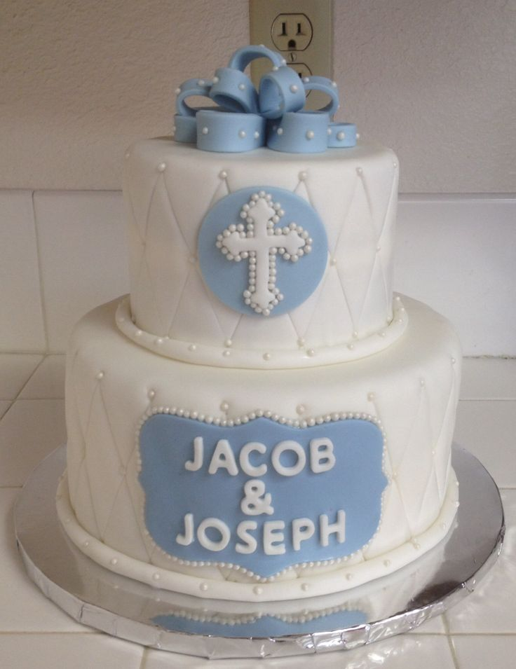 Baptism christening cake for boy