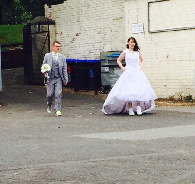 Bride and groom wedding sneaky photo
