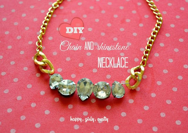 Chain and rhinestone necklace DIY