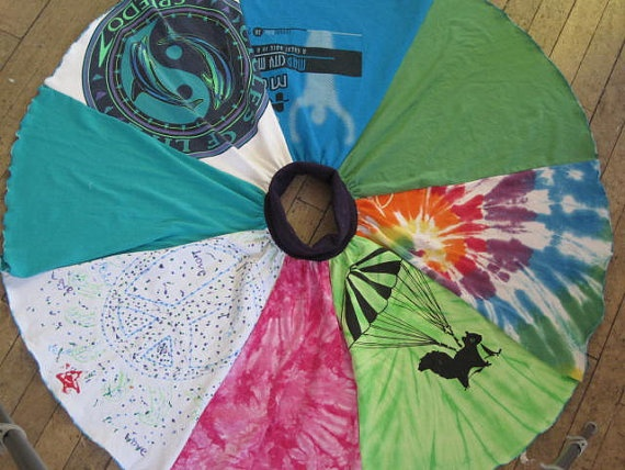 Upcycled T Shirt Circle Skirt for size 7to8 Girls