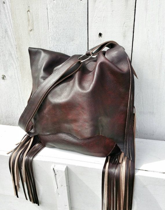 Dark Chocolate Cherry Rustic Leather Hobo Bag by RusticMoonLeather