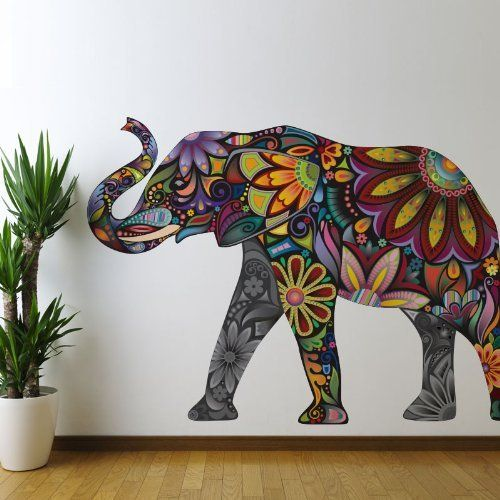 Floral Elephant Wall Sticker Decal - Peel & Stick and Removable by MyWonderfulWalls, http://www.amazon.com/dp/B00A7CJA7U/ref=cm_sw_r_pi_dp_8E5esb1G5W4QX