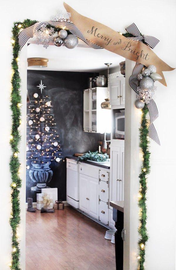 Christmas door garland - and love the chalkboard Christmas tree!
