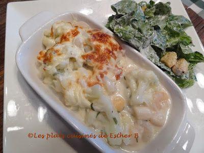 Les plats cuisinés de Esther B: Gratin de crevettes, pétoncles et chou-fleur