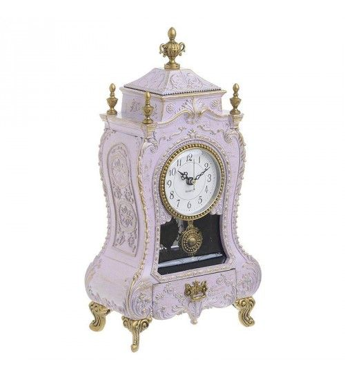 POLYRESIN MUSIC CLOCK IN ANTIQUE WHITE COLOR 11Χ8Χ38