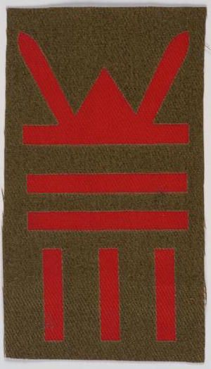 The badge for 7 RWF within 53rd (Welsh) Div.158th Brigade within 53rd (Welsh) Division. The seniority bars below the Divisional sign indicate which Brigade and Battalion this is.[IWM INS5443]