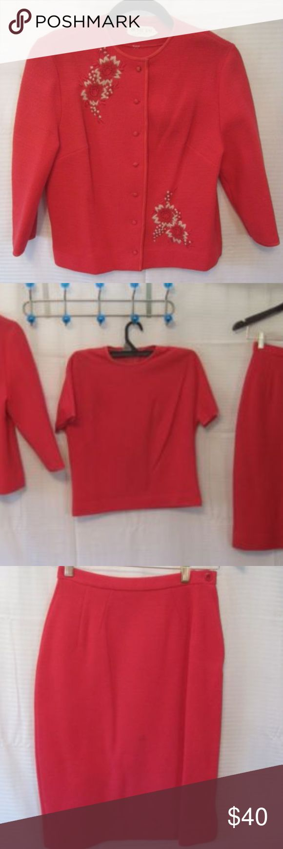 """Vintage Butte 3 pc Wool Knit Suit Top Skirt Coral Vintage Butte Knit 3 Pc Pink Floral Wool Sweater Top Skirt Set  Button front closure on sweater, Zipper back closure on short sleeve shirt, Side zipper and button closure on skirt.   There are some spots on skirt that may be able to be spot cleaned  Skirt: Length: 25"""", Waist: 24"""", Hips: 34""""  Sweater: Length: 22"""", Chest: 36"""", Sleeve: 10"""",  Waist: 36"""", Hips: 38""""  Shirt:Length: 20"""", Chest: 36"""", Sleeve: 1 1/2"""", Waist: 32"""", Hips: 34"""" Butte Dresses"""