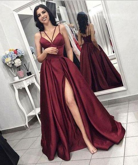 f6758cad05e Elegant Burgundy Prom Dress with Leg Slit