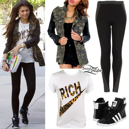 Black Leggings Jeggings Camo Vest With Leather Sleeve Inserts Rolled Adidas High Tops