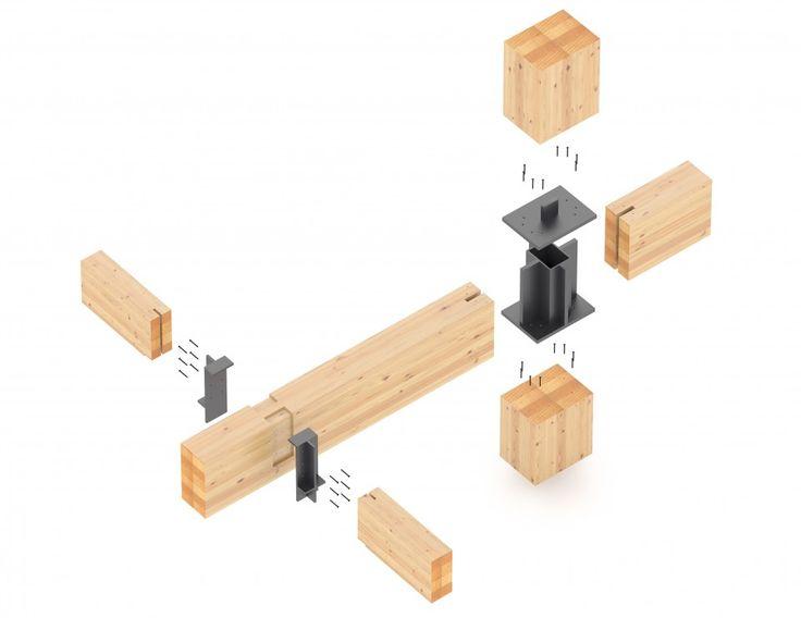 Projet mixte à Montréal. Structure apparente en bois lamellé-collé. Projet LEED Platine. Mixed development with exposed glulam structure.