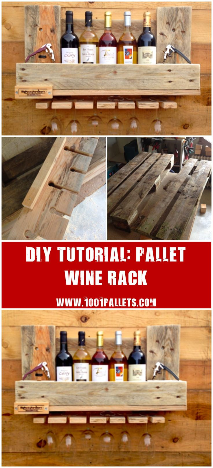 "[gallery columns=""5"" link=""none"" ids=""14881,14890,14891,14892,14893""] This tutorial by Jean-Christian Gambellin will show you how to made a pallet wine rack/shelf for your kitchen. 1 Pallet. Approximately 1 day to make it. Need some skills to do it, we evaluated this project…"