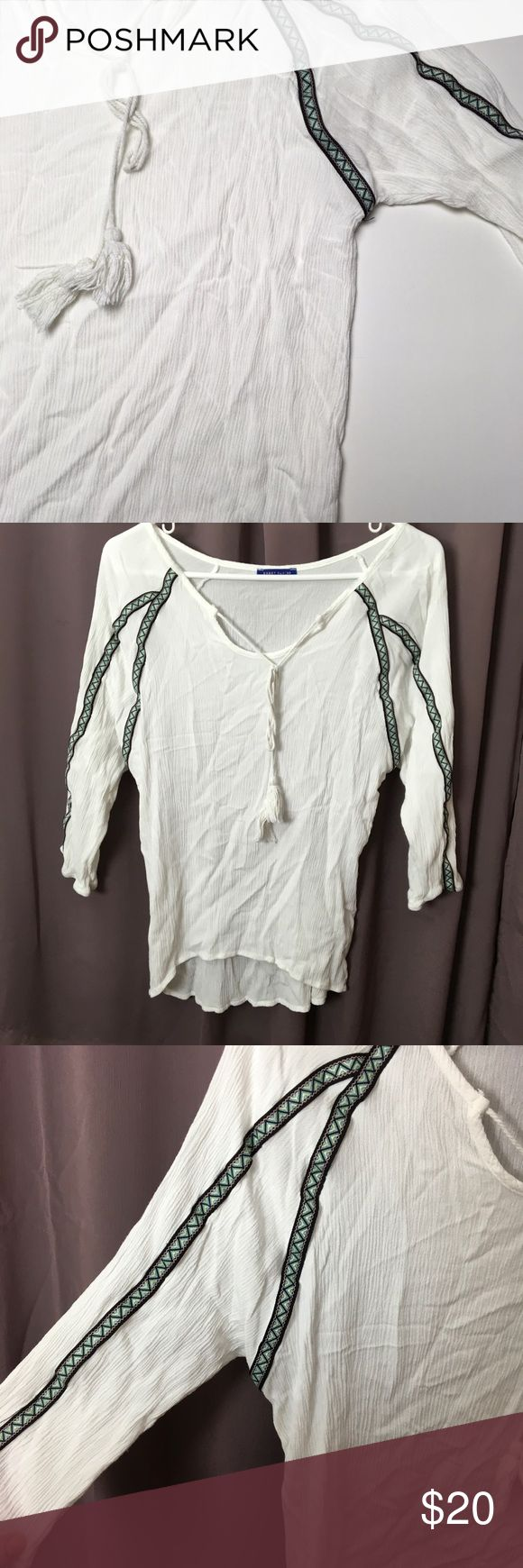 Boho Peasant Blouse w/ Tassels 🌸 Pretty!! I'll steam it before shipping. Great condition! Soft fabric. Aztec embroidered sleeves. Bundle discount is 20% Macy's Tops