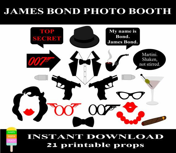 James Bond Photo Booth Props–21 Pieces-Printable Agent 007 Props-James Bond Party Props-Printable James Bond Photo Props-Instant Download