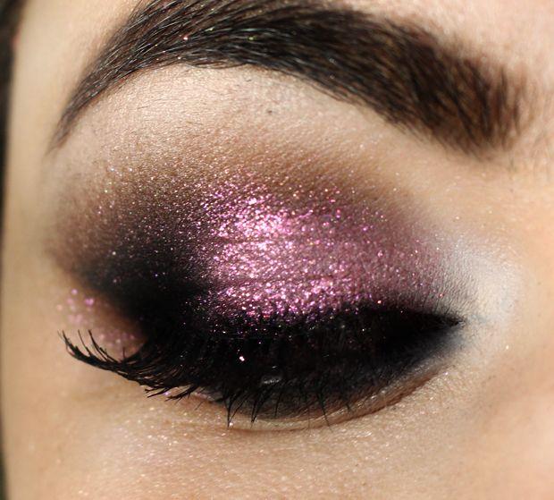 purple glitter smoky eye