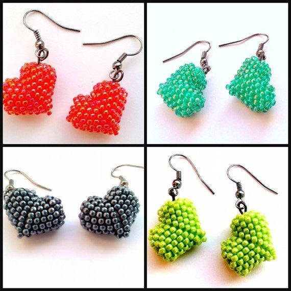 earrings Little Heart Dangle Earrings Beaded by DeerestJewelry