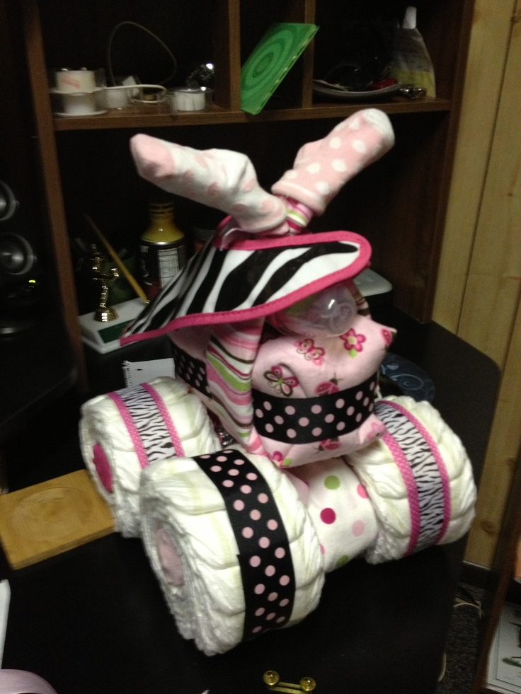 """A fun baby shower gift for the """"country"""" girls in your life. A diaper and baby supply 4 wheeler!!"""