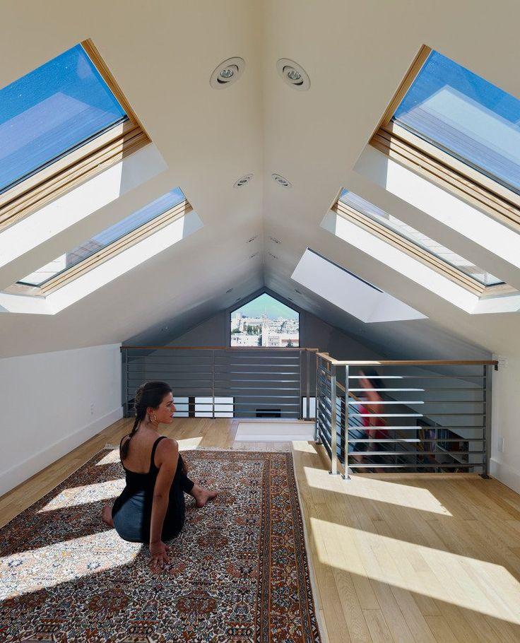 floor pillows for yoga and meditation home gym contemporary with metal railing chrome recessed light trims