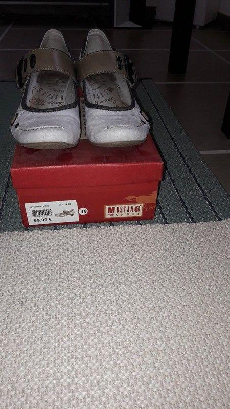 Chaussures mi-saison femme gris clair avec petit talon
