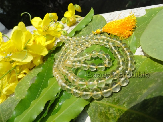 Yellow Topaz Necklace 8mm 108 Yellow Topaz by beadsincredible, $24.95