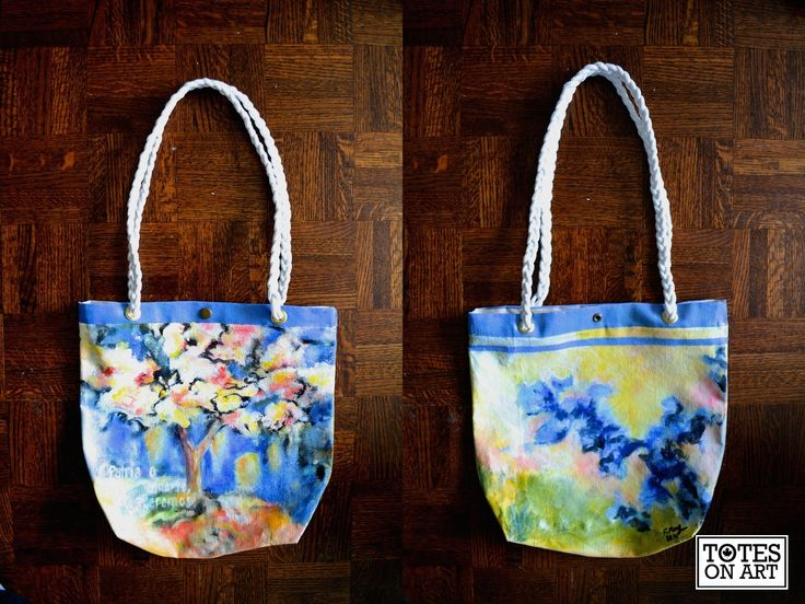 Floral tote commission. Machine sewn with hand-hammered in buttons and grommets. Hand-braided cotton rope handles. August 2014.