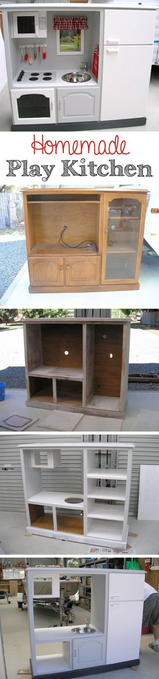 Homemade Play Kitchen | So awesome & inspiring! The inside of the refrigerator even has door shelves.