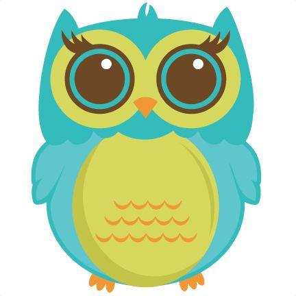 Cute green blue owl