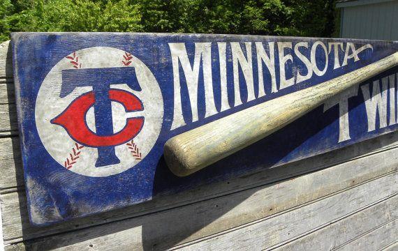 Minnesota Twins, Baseball Sign, hand painted original, wooden, wall hanging, baseball decor, Twin City on Etsy, $110.00