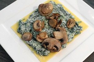 open lasagne met spinazie en champignons