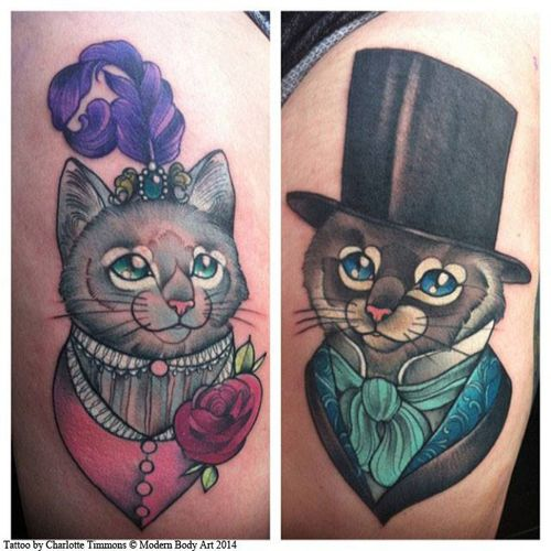 Cat Tattoos Every Cat Tattoo Design Placement And Style: Charlotte Timmons Modern Body Art 2, Neo Traditional Cat