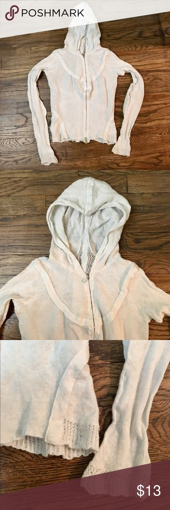 🌸Adorable white hooded zip up with flirty detail This is a great staple piece. It's a zip up white sheer zip up with crochet and stitching detail on the back/cuffs & bottom. It's GUC with no stains or tears. A/X Armani Exchange Tops Sweatshirts & Hoodies