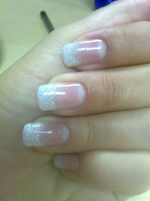 Sparkling Tips Wedding Nails this is what i want :)