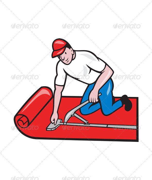 Carpet Layer Fitter Worker Cartoon by patrimonio Illustration of a carpet layer laying down carpet layer carpet fitter worker done in cartoon style on isolated white background.