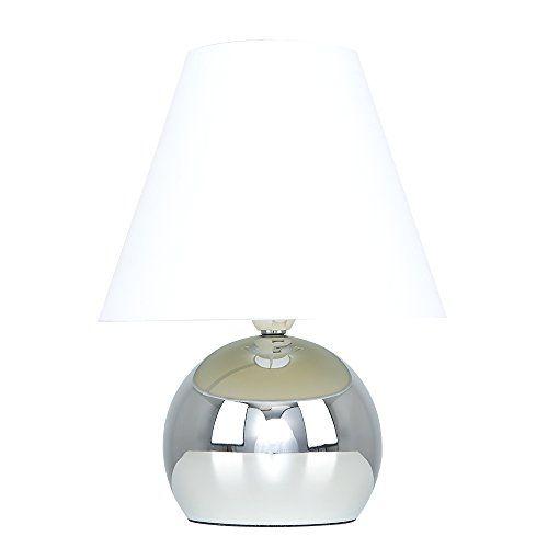 Minisun Lampe De Table Chevet Touch Moderne Variateur Touch Integre Pied Boule Chrome Et Abat Jour Conique En T Abat Jour Conique Lampes De Table Tissu Blanc