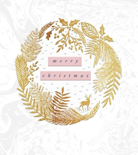 Gold Foil and Embossed Christmas Card with Luxury Ivory Envelope 425301