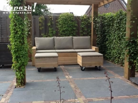 Steigerhout loungesetje nu 299,- zeer mooi, Tuinmeubelen, Brugge | Kapaza.be