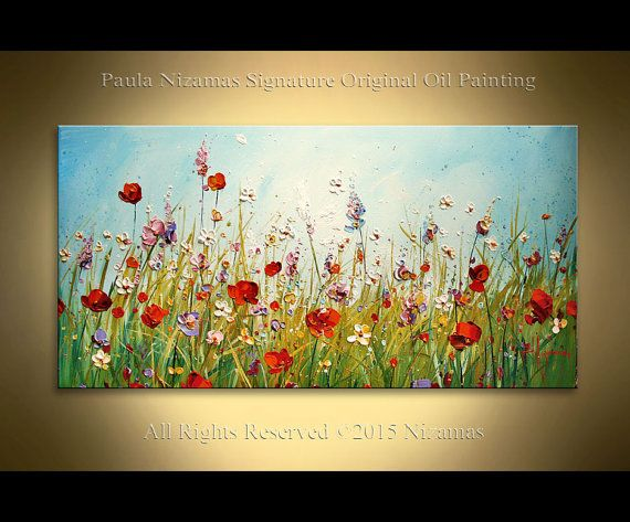 Original Floral Wall Painting on Canvas Oil and by Artcoast