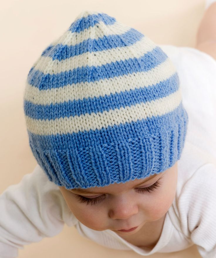 Free Knitting Patterns Baby Hats | Stripe Knit Baby Hat Knitting Pattern | Red Heart