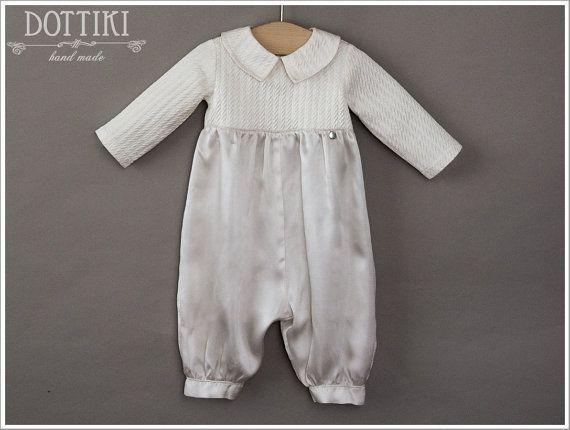 Christening Silk Romper  Baptism Romper  Baby Boy by DOTTIKI