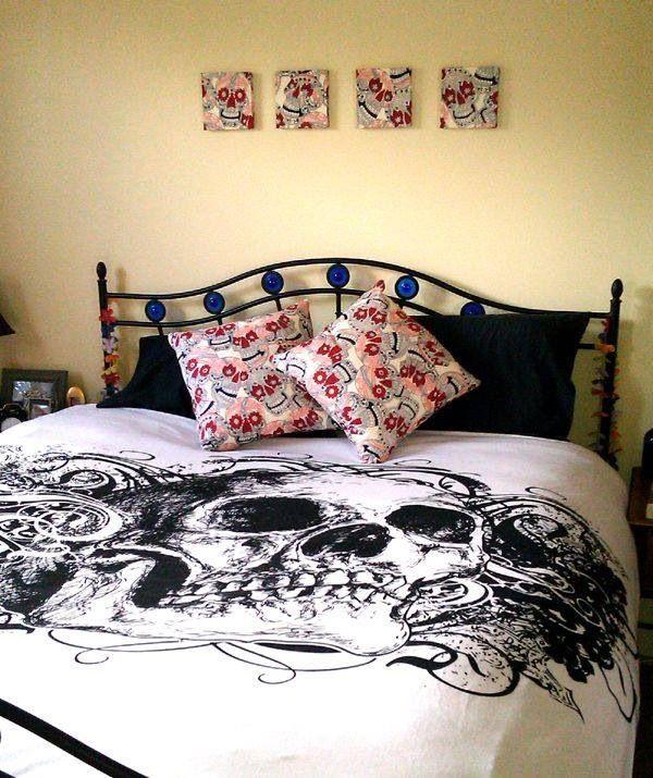 Image Detail For  Bedroom Decor In Alexander Henry Skulls Fabric « Bedspread