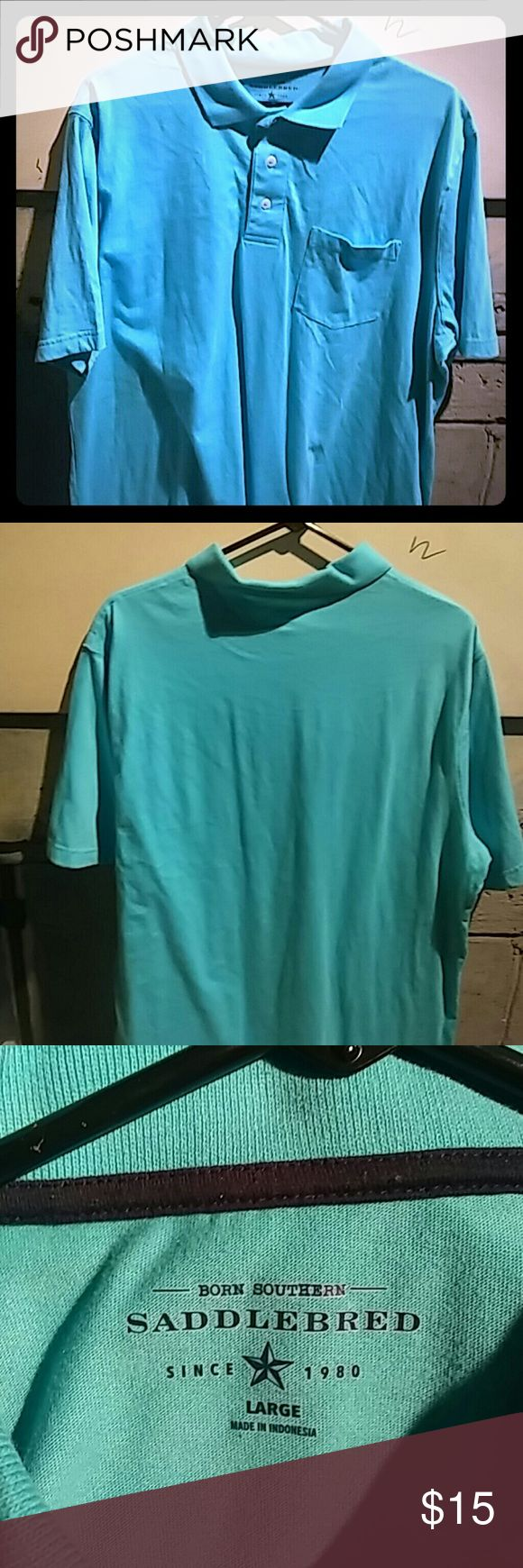 Saddlebred Turquoise Collared Polo Never been worn Turquoise polo by Saddlebred Great for school uniforms  Front pocket Saddlebred Shirts Polos