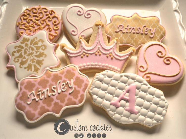 Gold and Pink Princess Party | Cookie Connection- try this technique- gold luster dust then stencil on top with royal icing