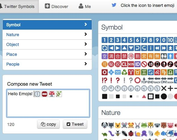 Twitter Symbols - oh boy, my tweets will never be the same. Thanks to @kotawcontent :)
