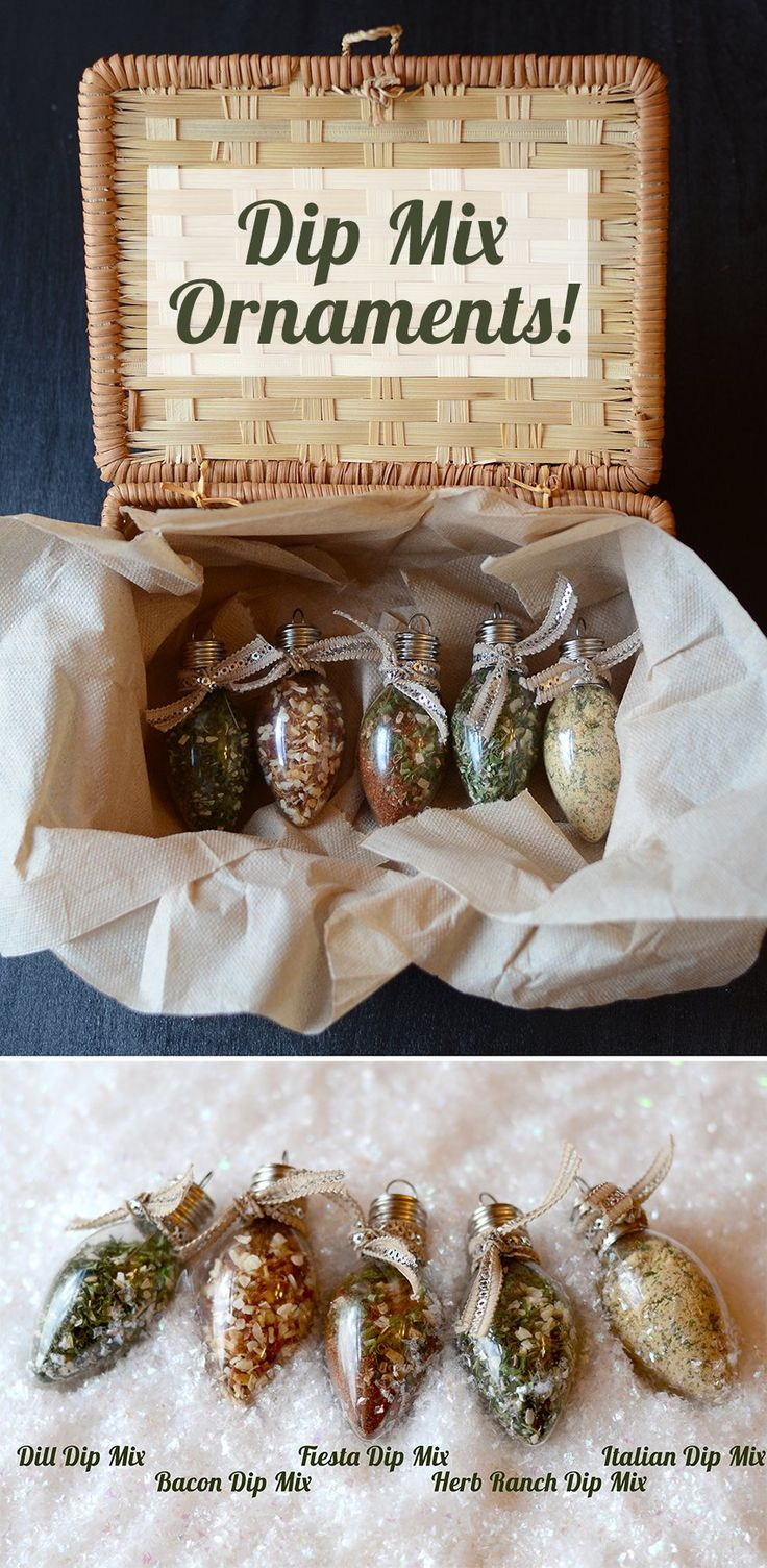 Dip Mix Ornaments!~ Directions for five different, scrumptious spice ornament mixtures on site.      Place a card with each ornament with the directions on how to make each dip (just add sour cream:) Perfect last minute gifts for teachers,friends, neighbors, etc. I LOVE this!! Enjoy.