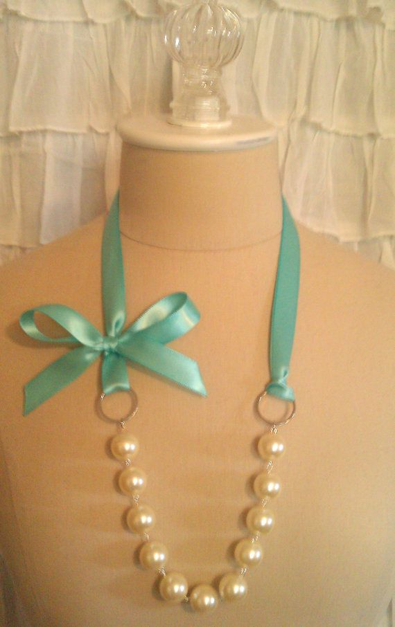 Tiffany Blue Ribbon Pearl Necklace by TresChicTreasures on Etsy, $14.99