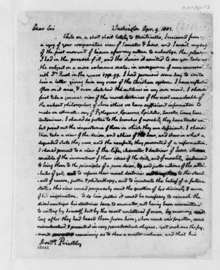 Thomas Jefferson S Letter To Joseph Priestley