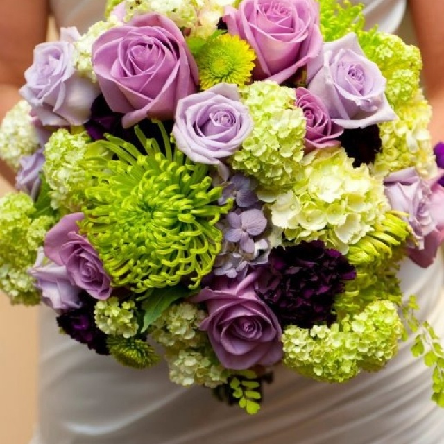 My flowers :) Purple and green wedding bouquet